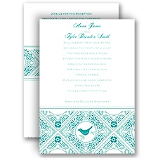 Lacy Love Birds All In One Vintage Wedding Invitation