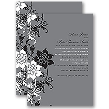 Fashion Flowers All In One Wedding Invitation