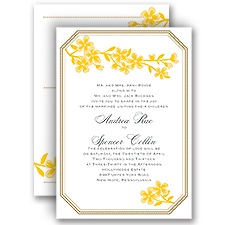 Fresh Flowers Citrus All in One Wedding Invitation