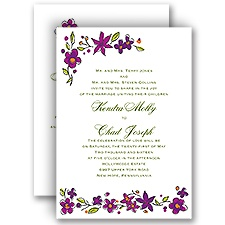 Whimsical Posies - Amethyst - All in One Invitation