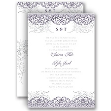 Lacy Flourishes All In One Wedding Invitation