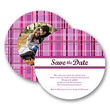 Mad About Plaid - Candy Purple - Save the Date Card