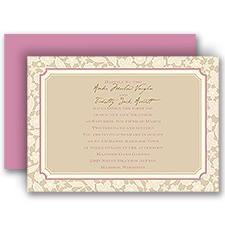 Lacy Flowers - Ecru - Invitation