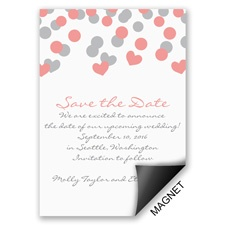 Heart Confetti Save the Date Magnet