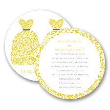 Patterned Dresses Wedding Invitation