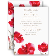 Painted Posies Cherry Red Wedding Invitation