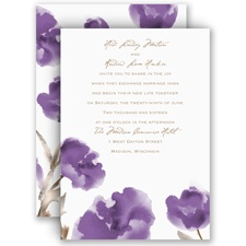 Painted Posies Lavender Wedding Invitation