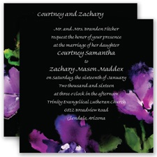 Flower Drama Purple Wedding Invitation