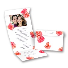 Watercolor Posies Barn Red Seal and Send Wedding Invitation