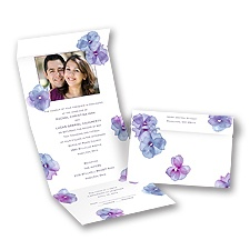 Watercolor Posies Raisin Seal and Send Purple Wedding Invitation
