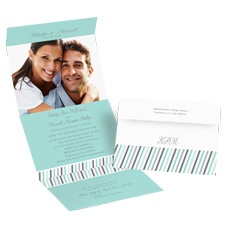 Slanted Stripes Seal and Send Photo Wedding Invitation