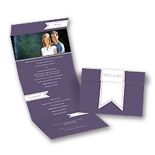Ribbon Tabs Seal and Send Photo Wedding Invitation