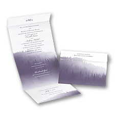 Watercolor Forest Seal and Send Purple Wedding Invitation
