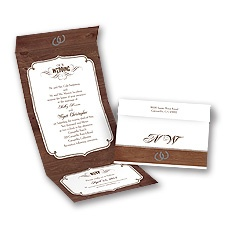 Rustic Wedding Seal and Send Brown Wedding Invitation