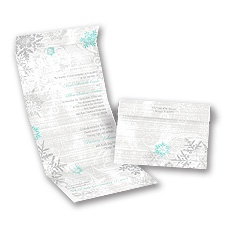 Snowflakes and Swirls Pewter Seal and Send Wedding Invitation