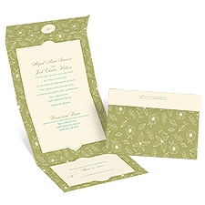 Floral Delight - Ecru - Seal and Send Invitation