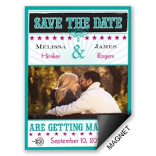 Star Studded Peacock Save the Date Magnet