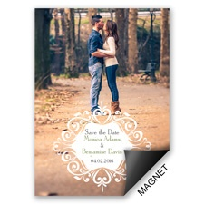 Filigree Crest Modern Save the Date Magnet