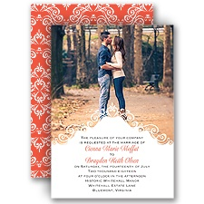 Filigree Crest Photo Wedding Invitation