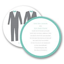 Patterned Tuxes Digital Wedding Invitation