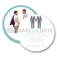 Patterned Tuxes Modern Save the Date