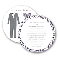 Patterned Tux and Dress Wedding Invitation