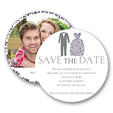 Patterned Tux and Dress Save the Date