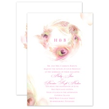 Peacock Whimsy Cotton Candy Pink Wedding Invitation