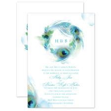 Peacock Whimsy Peacock Blue Wedding Invitation
