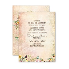 Vintage Birds - Petite Rehearsal Dinner Invitation