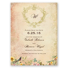 Vintage Birds - Save the Date Card