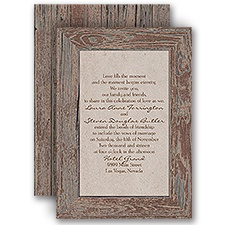 Rustic Frame Bark Brown Wedding Invitation