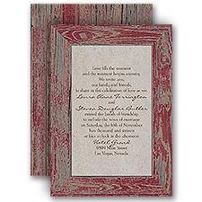 Rustic Frame Barn Red Red Wedding Invitation