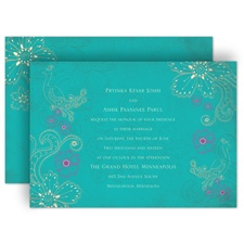 Peacock Floral - Peacock - Invitation