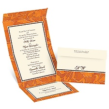 Leather Leaves - Ecru - Seal and Send Invitation