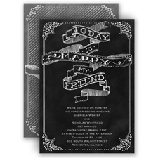 Chalkboard Sketch Wedding Invitation