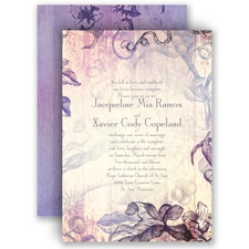 Antique Charm Lavender Purple Wedding Invitation