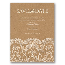 Lace on Kraft Save the Date