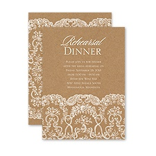 Lace on Kraft - Petite Rehearsal Dinner Invitation