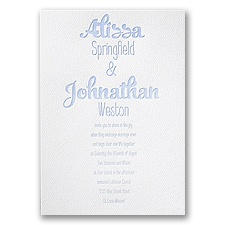 Big Names White Featherpress Wedding Invitation