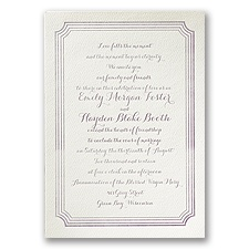 Layered Frame Ecru Featherpress Wedding Invitation
