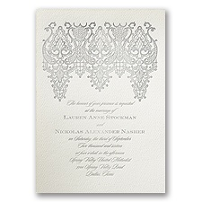 Chandelier Lace Ecru Featherpress Wedding Invitation