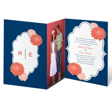 Peeking Flowers Wedding Invitation