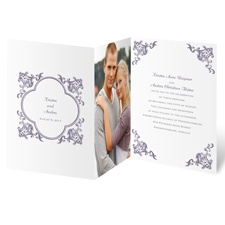 Filigree Corners Purple Wedding Invitation