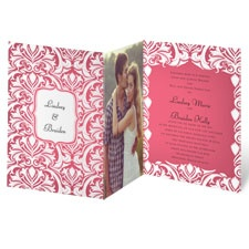 White Flourishes Posie Pink Wedding Invitation