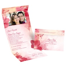 Flowers and Butterflies Barn Red Seal and Send Red Wedding Invitation