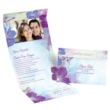 Flowers and Butterflies Grapevine Seal and Send Wedding Invitation