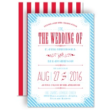 Stars and Pinstripes Red Wedding Invitation