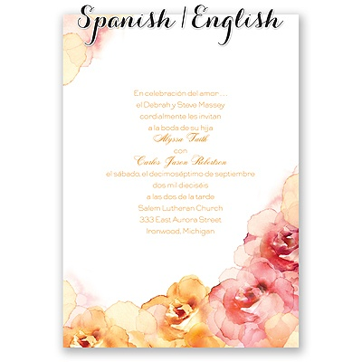 Flores pintadas deep orange invitation