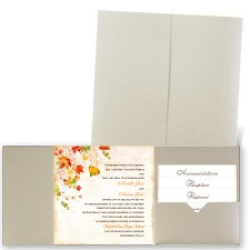 Last of Fall Gold Shimmer Pocket Wedding Invitation